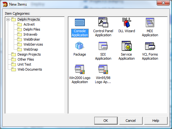 Delphi New Items dialog, Console Application